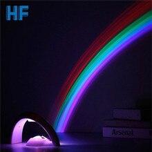 Erstaunlich Bunte LED Regenbogen Licht Baby Kinder Kinder Kind Nachtlicht Romantische Weihnachten Projektor Lampe für Schlafen Schlafzimmer