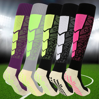 YUEDGE Non-slip Breathable Comfort Cushion Cotton Over Knee Ankle Long Soccer Football Socks Stockings(1 Pairs/Packs)