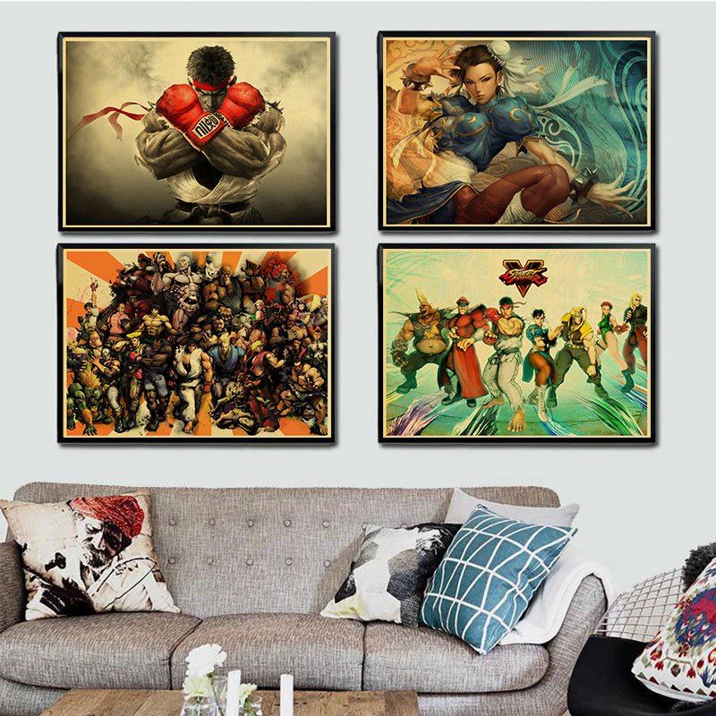 Cool Vintage Street Fighters Poster Horror Movie Painting Kraft Paper For  Living Room Home Bar Wall Decor