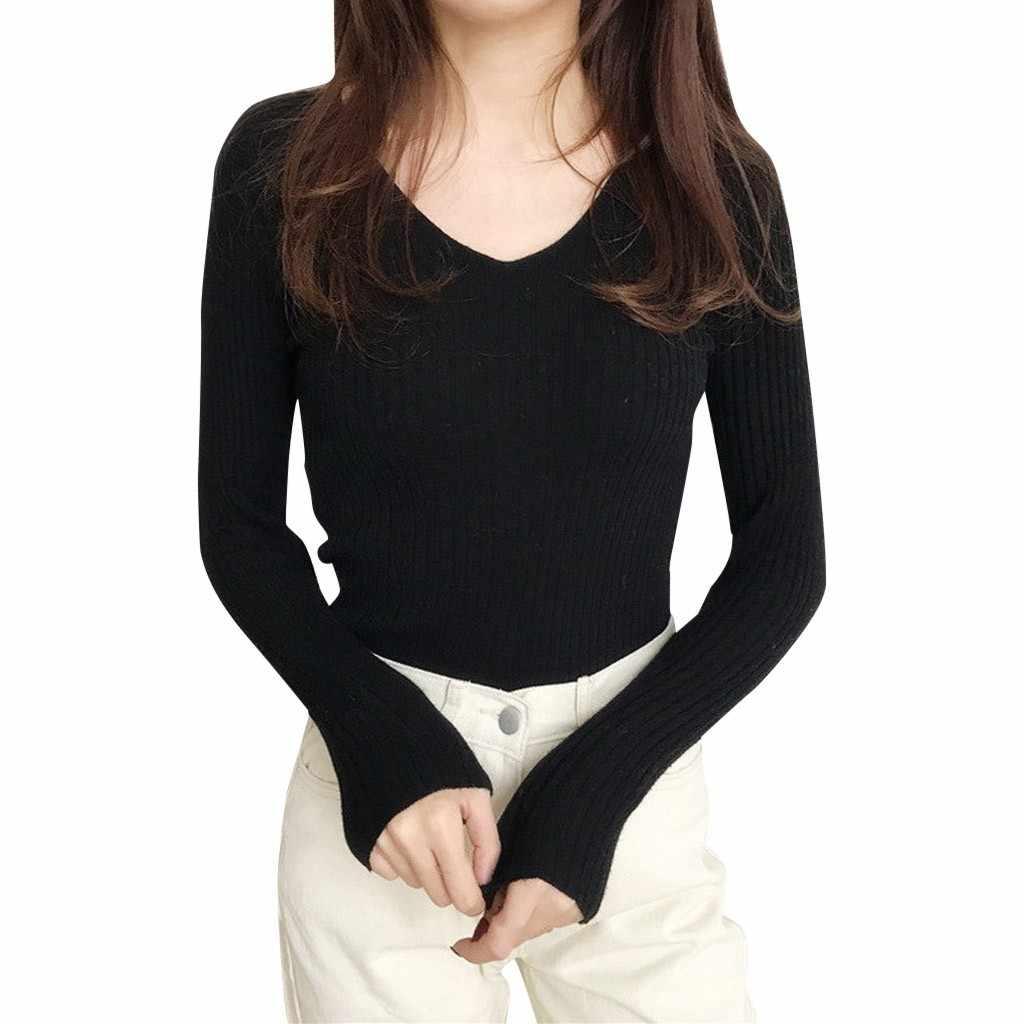 판매 2019 가을 겨울 여성 니트 v 넥 스웨터 캐주얼베이스 맞는 소프트 점퍼 패션 슬림 femme 신축성 풀오버 새로운