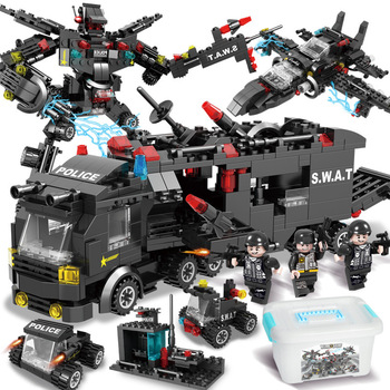 1005pcs City Police Station Car Building Blocks For City SWAT Team Truck House Blocks Technic DIY Toy For Boys Children 1122pcs 8in1 swat city police station building blocks compatible technic car truck creator bricks toys for children boys gifts