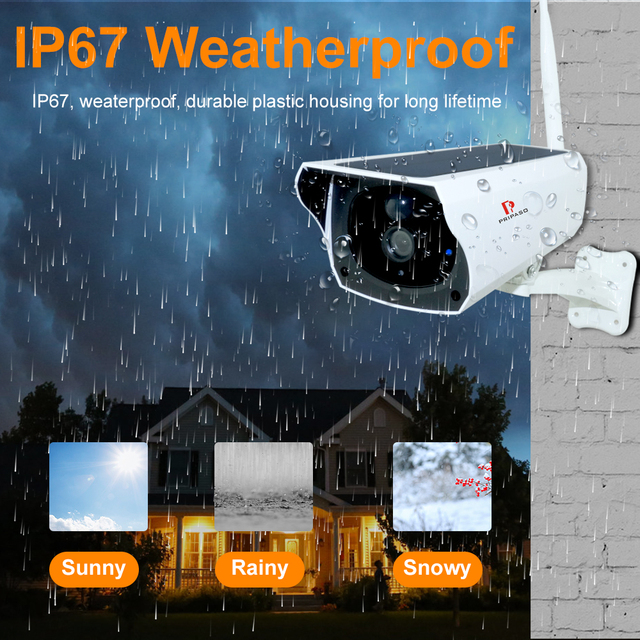 Pripaso 1080P WI FI Solar Camera HD Wireless IP67 Waterproof WiFi Exterior Security Surveillance CCTV IPcamera Two Way Audio Cam 4