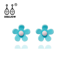 DREJEW Pink Yellow Purple Blue Acrylic Flower Statement Earrings 2019 925 Alloy Drop for Women Fashion Jewelry HE5841