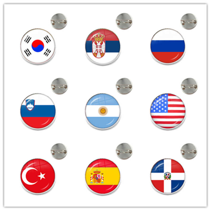 National Flag Glass Cabochon Brooch Korea,Serbia,Russia,Slovenia,Argentina,United States,Turkey,Spain,Dominica Collar Pins Gift