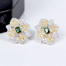 CMajor S925 Solid Sterling Silver High end Delicate Vintage Temperament Elegant Flower Shape Two Tone Stud Earrings for Women