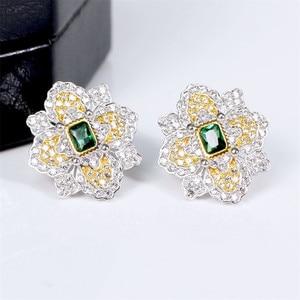 Image 1 - CMajor S925 Solid Sterling Silver High end Delicate Vintage Temperament Elegant Flower Shape Two Tone Stud Earrings for Women
