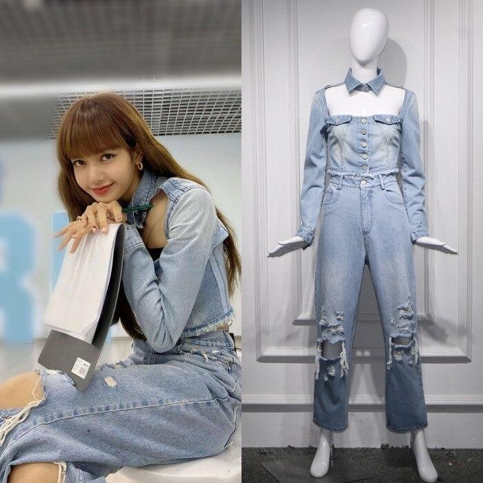 Kpop Blackpink LISA 2020 Korean Light Blue Slim Hollow Denim Short Jacket Coat+ Fashion Loose Straight Jeans Women Two-piece Set
