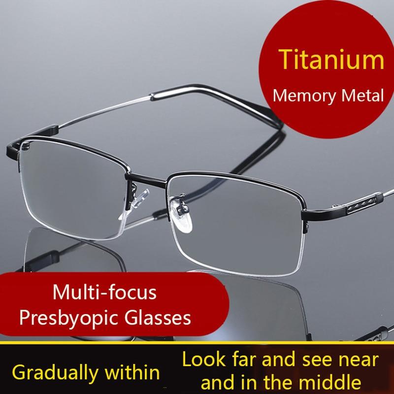 High Quality Titanium Multifocal Reading Glasses Anti Blue Light Lens Men Flexible Alloy Business Presbyopic Eyeglasses