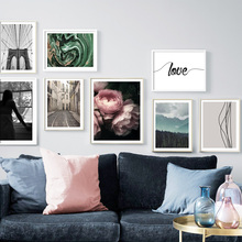 Peony Flower Brooklyn Bridge Street Abstract Wall Art Canvas Painting Nordic Posters And Prints Pictures For Living Room