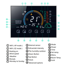 Thermostat Programmable Water/Gas Boiler Heating Thermostat Termostato Wall Hung Wifi Voice APP Control For Echo Google Home