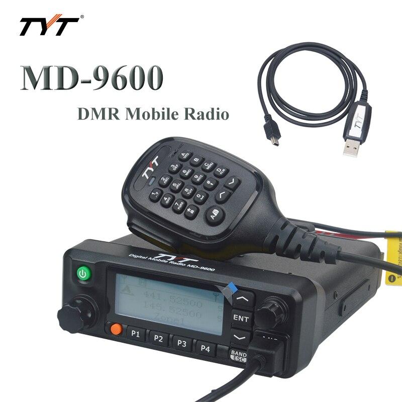 TYT MD-9600 DMR MOIBLE RADIO UHF/VHF banda Dual 136-174MHz y 400-480MHz 50 vatios 1000Ch transceptor móvil con función de grabación Controlador de red de 12 canales IO, modo esclavo maestro Modbus RTU, relé Anolog Digital, módem transceptor
