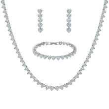 WEIMANJINGDIAN New Arrival Heart Design Cubic Zirconia Necklace Bracelet and Earring Wedding Jewelry Set for Bride or Bridesmaid