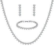 WEIMANJINGDIAN collier et boucle doreille en zircone cubique, ensemble de bijoux de mariage pour mariée ou demoiselle dhonneur, nouveauté