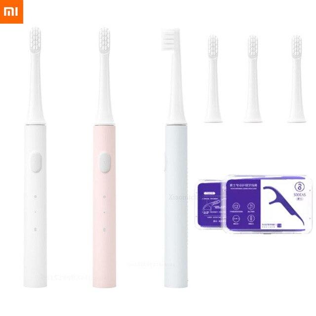 חדש שיאו mi Mi jia T100 Mi חכם חשמלי מברשת שיניים 46g 2 מהירות סוניק מברשת שיניים הלבנת טיפול אוראלי מברשת ראש חוט דנטלי