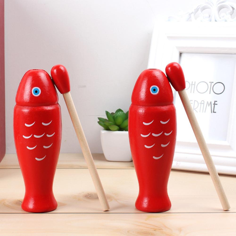 Wooden Fish Shape Knocking Instruments Percussion Early Educational Kids Instruments Toy Gift For Children
