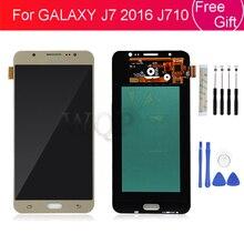Super AMOLED Dành Cho Samsung Galaxy Samsung Galaxy J7 2016 J710 Màn Hình LCD Hiển Thị Màn Hình Cảm Ứng Bộ Số Hóa Các Bộ Phận Thay Thế J710F SM J710F J710FN Màn Hình LCD