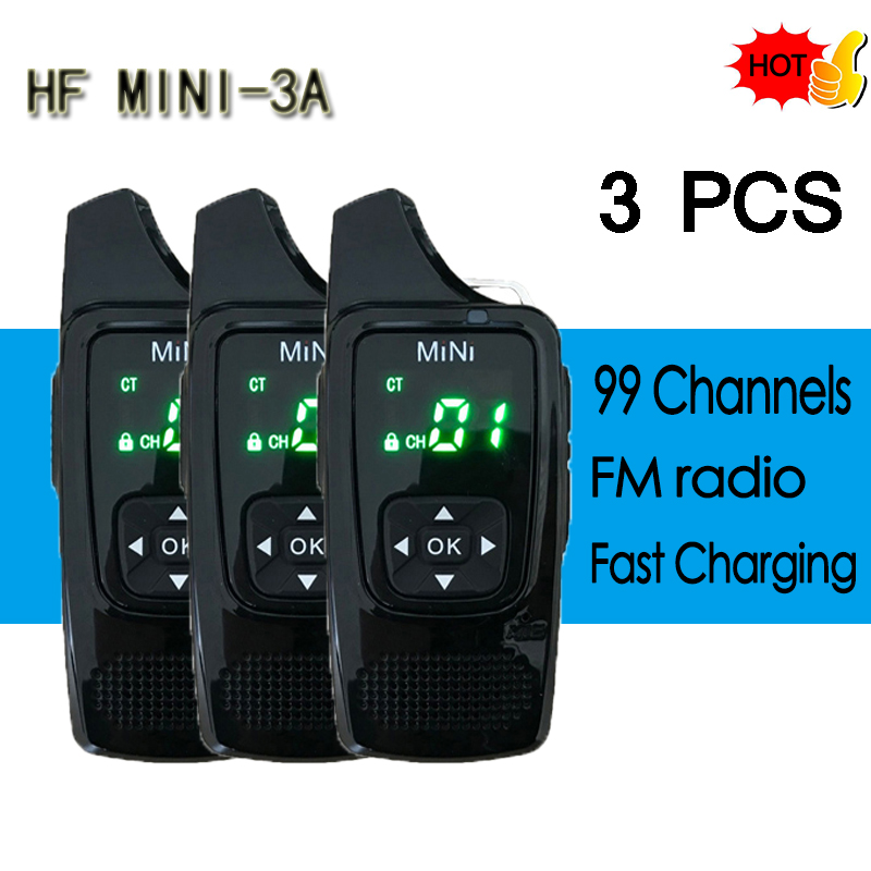 3 PCS HF 3A MINI Walkie Talkie VOX Voice Control UHF 400-520MHz 99CH Ultra-small Radio Transceiver With Earpiece Free Headphones