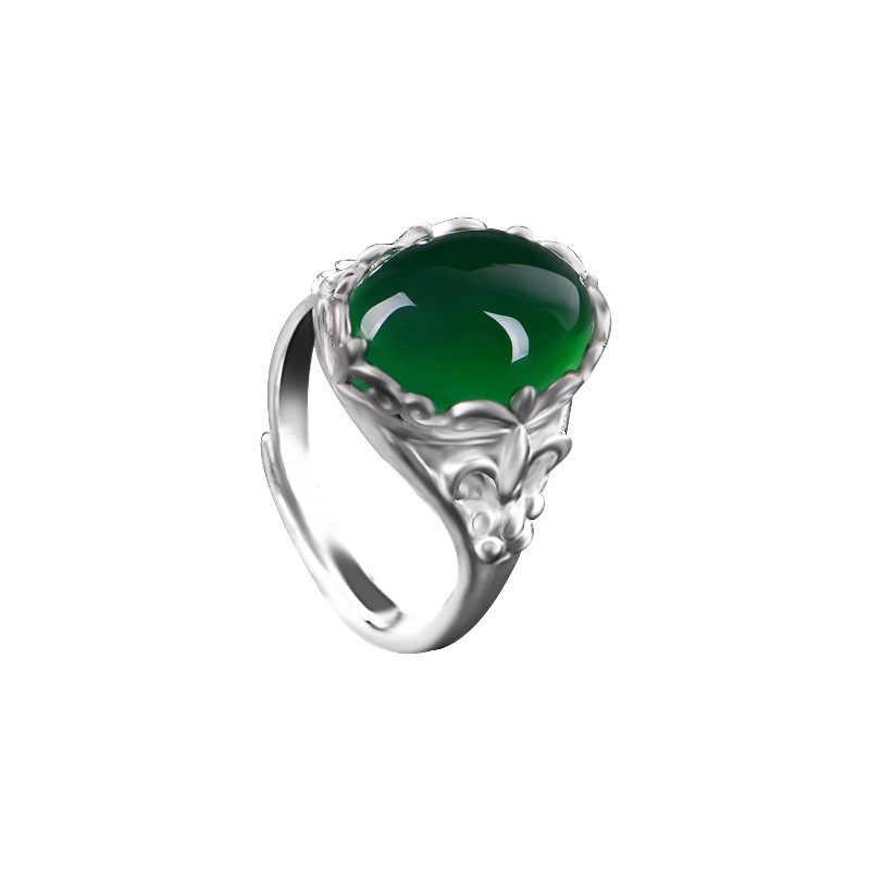 แหวนหยกแท้สีเขียวธรรมชาติ 925 เงินหยกChalcedony Amuletแฟชั่นCharmเครื่องประดับของขวัญของเธอ