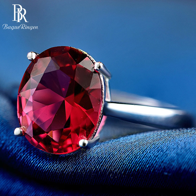Bague Ringen 925 Sterling Silver Ring  Adjustable Opening Popular Jewelry 8*10mm Natural Ruby For Women Korean Simple Style