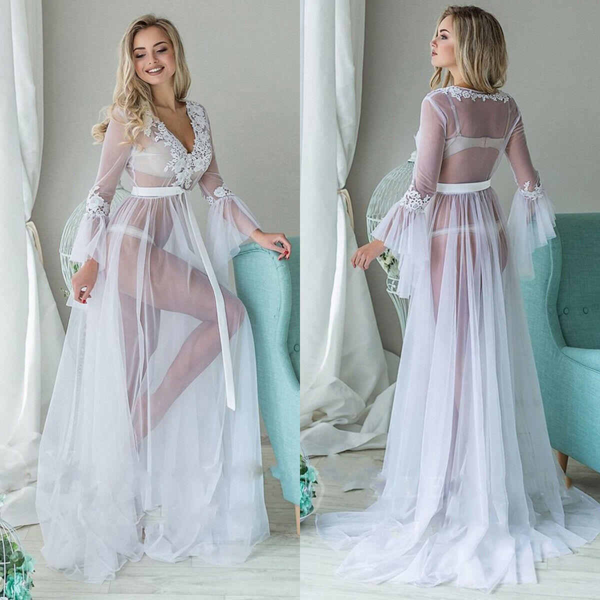 Sexy Women Lingerie Lace Cover Ups Babydoll Long Flare Sleeve See-through Mesh Sheer Ladies Floral V Neck Long Robes Dress