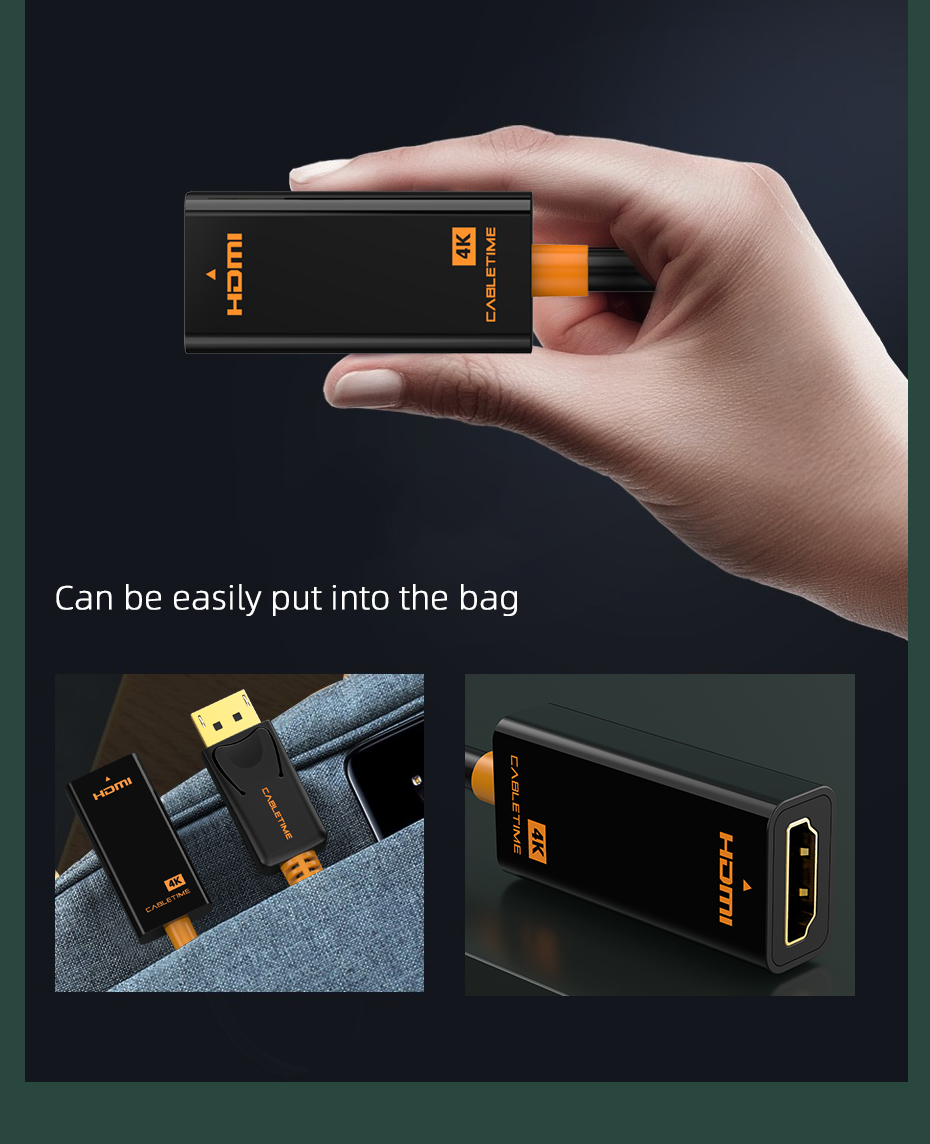 Cabletime Dp Naar Hdmi-Compatibel M/F Converter 4K/2K Display Port Naar Hdmi-compatibel Adapter Displayport Hdmi 4Kfor Macbook N007 18