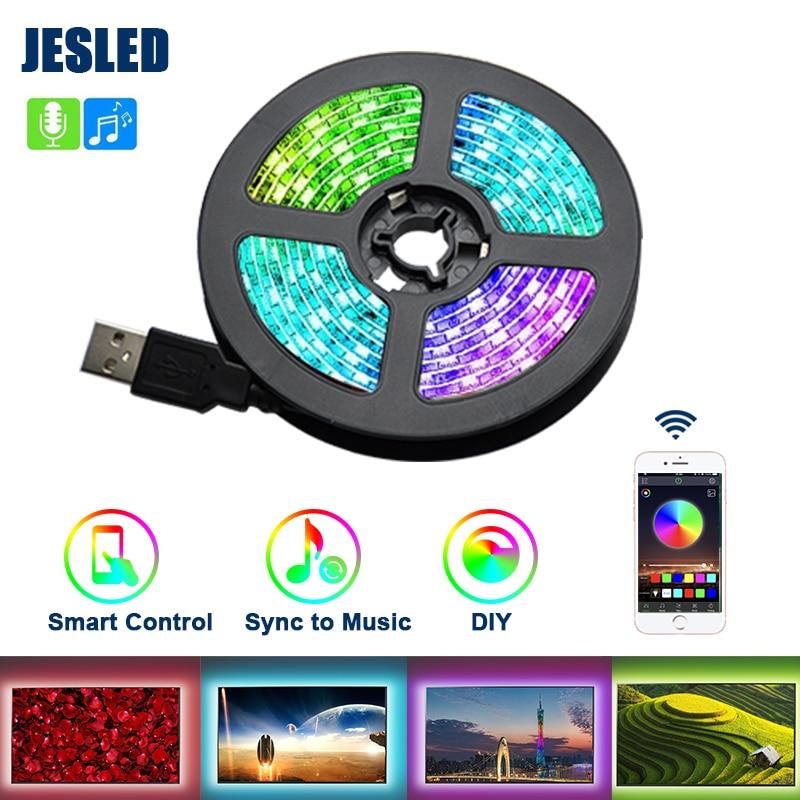 JESLED RGB Led listwa oświetleniowa USB 5050SMD elastyczna taśma wstążkowa salon Led lampka nocna 0.5/1/2/3M muzyka Bluetooth kontrola aplikacji