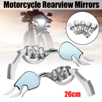 Pair Aluminum Flame Skull Motorcycle Rearview Mirrors Decorative Side Mirrors For Davison/Sportster/Iron/Street Gilde 1200 883