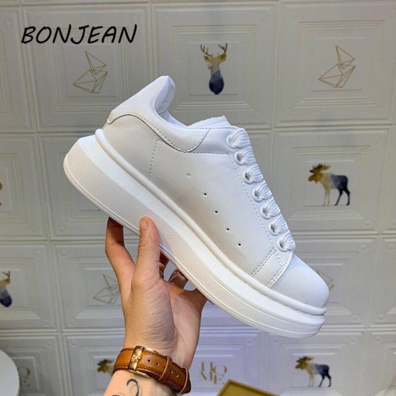 Bonjean Geninue cuir Mcqueen blanc cassé chaussures femmes de haute qualité chaussures de luxe chaussures décontractées baskets style de mode populaire