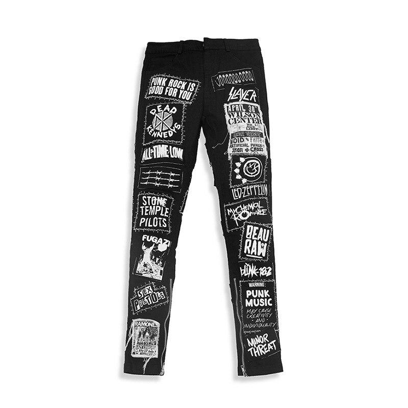 KIOVNO Men's Graffiti High Street Denim Trousers Washed Fashion Badge Denim Trouser Male Streetwear Patchwork Black