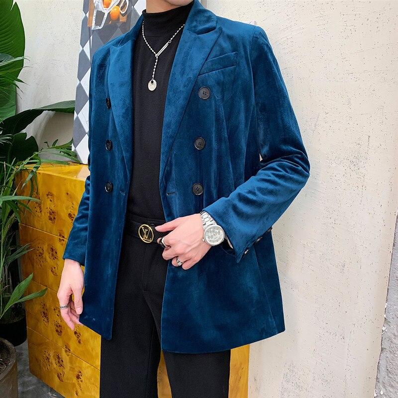 Casual Suit Blazer Coat Uniform Male Streetwear Suit Jacket Outerwear Stage Clothing Men Velvet Vintage Double Breasted Loose