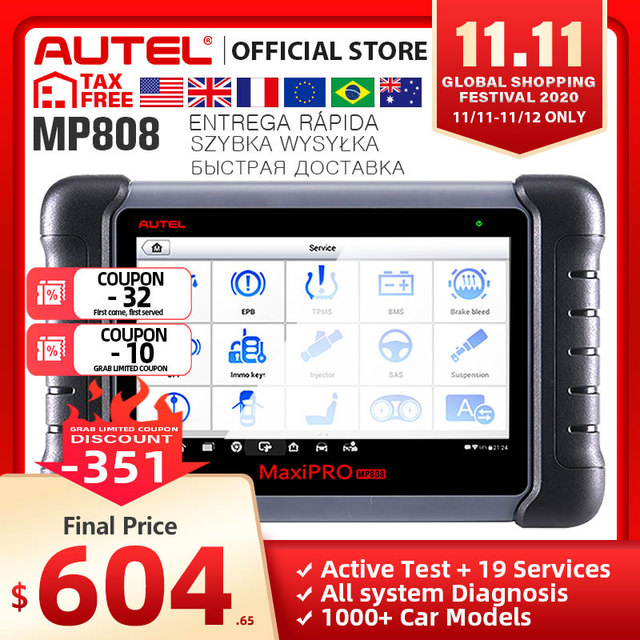 Autel MaxiPRO MP808 Automotive Scanner Car Diagnostic Tool Auto Full System Test OBD Autoscanner PK MaxiDAS DS808 Maxisys MS906