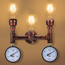 Pipe Wall Lamp Retro Iron Pipe Lamp Industrial Vintage Wall Lamp For Living Room Loft Water Meter Wall Lamp Industrial Household
