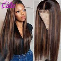 Realce peluca recta peluca con malla frontal 28 30 pulgadas peluca roja resalte pelucas de cabello humano de colores Celie rubio miel peluca con malla frontal