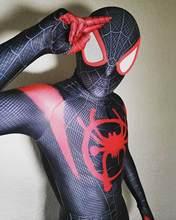 Anime miles morales traje 3d impressão no verso super-herói traje de halloween cosplay bodysuit para crianças adultas