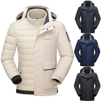 2020 Men's Winter 3 in 1 Ski Jackets Outdoor Sports Hiking Skiing Snowboard two-piece down liner detachable Windproof warm Coats