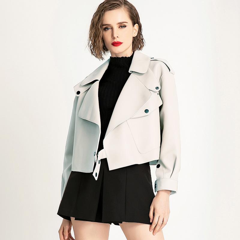 Faux Leather Jacket Women Loose Soft Vintage Motorcycle Biker Coat Short Pu Leather Coat Female Punk Autumn Streetwear Outwear