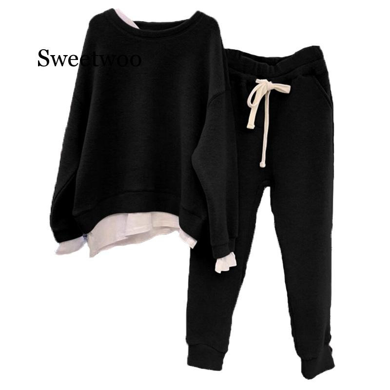 Women Two Loose Sweater Tracksuit New Fashion Two-piece Style Outfit Sweatshirt Pants Sets