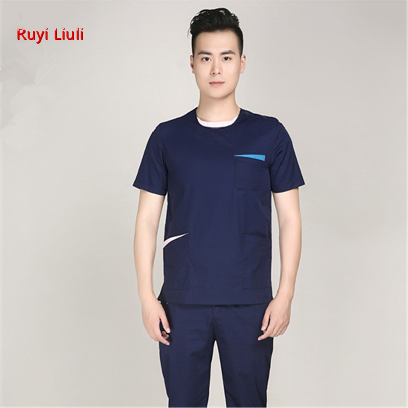 Ruyi Liuli-new Short Sleeved Men And Women Suits Blue Surgical Gowns Clothesbrush Hand Clothes Nurse Doctor Cotton