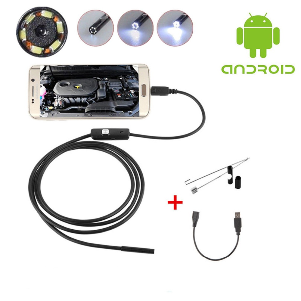 1M 7mm Lens USB <font><b>Endoscope</b></font> <font><b>Camera</b></font> Waterproof <font><b>Flexible</b></font> Wire Snake Tube Inspection Borescope For OTG Compatible Android <font><b>Phones</b></font> image