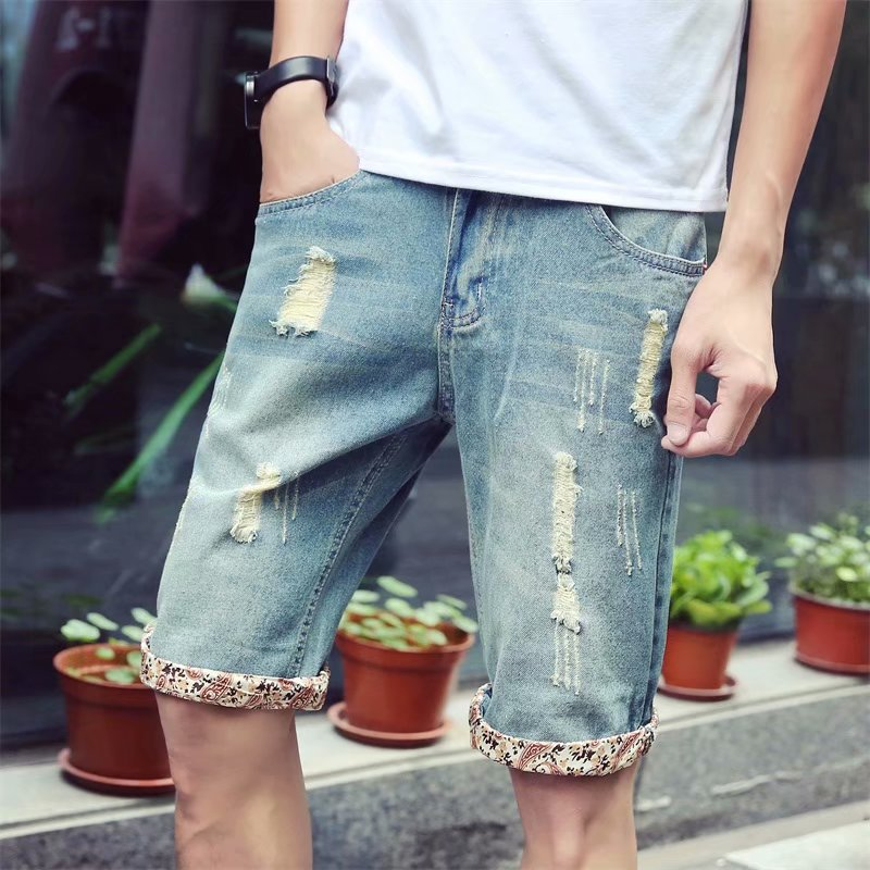 Denim Shorts Men Summer Thin Section Shorts Men's 5 Breeches Summer With Holes Shorts Loose And Plus-sized Pants