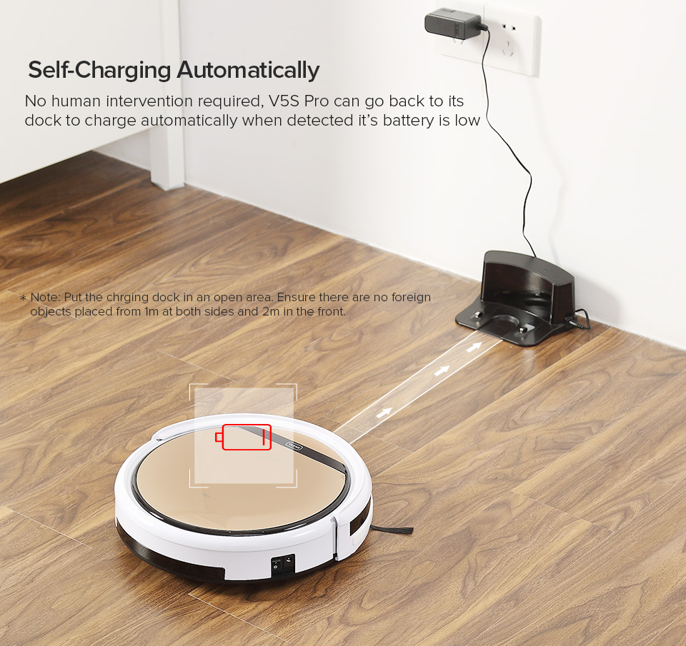 Ha10057deb9454b24b9b85709a03afbbct ILIFE V5sPro Robot Vacuum Cleaner vacuum Wet Mopping Pet hair and Hard Floor automatic Powerful Suction Ultra Thin disinfection