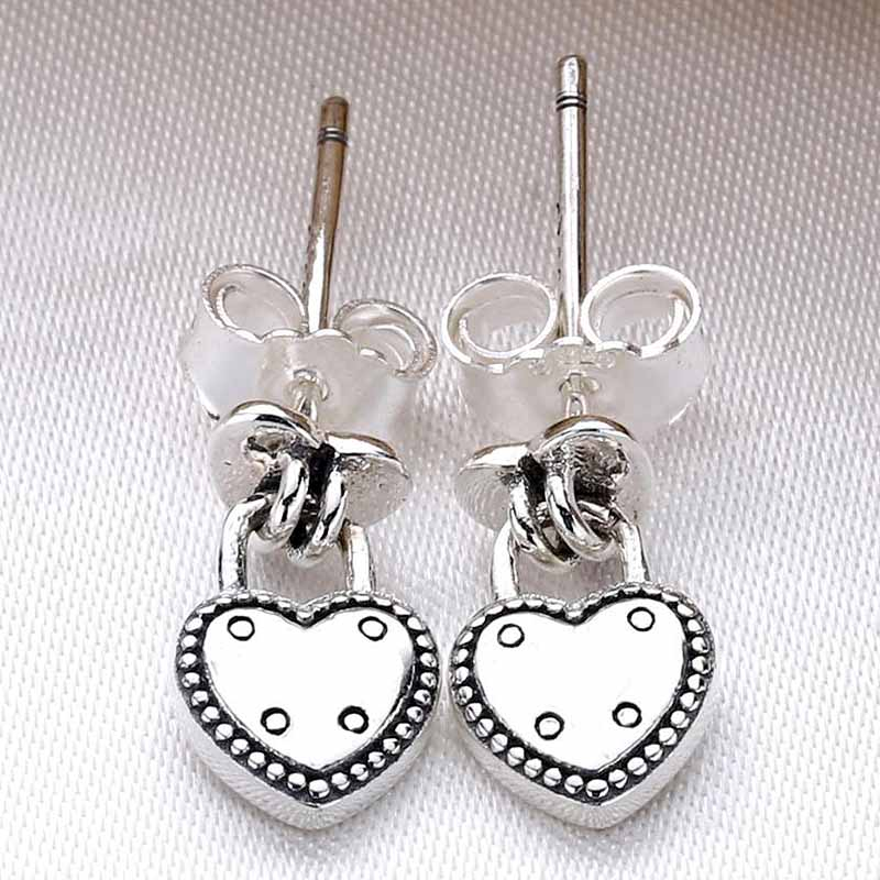 Original Padlock-inspired Love <font><b>Locks</b></font> Stud <font><b>Earring</b></font> For Women 925 Sterling Silver <font><b>Earring</b></font> Party Gift DIY Pandora Valantine Jewelry image