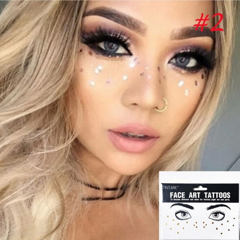 1pack Face Tattoo Sticker Bling Bling Jewelry Face Eyes Star Moon Freckle Beauty Makeup Sticker Body Art Paint Temporary Tattoo