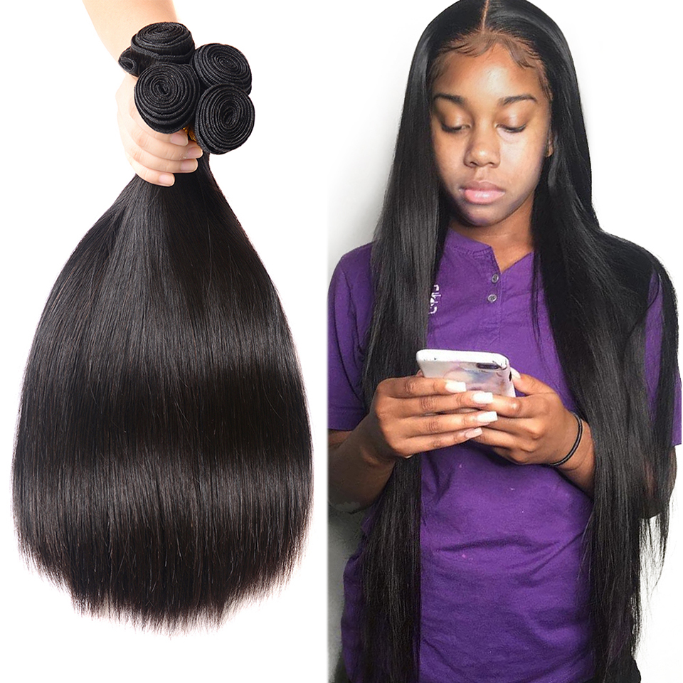 Fashow 30 32 34 36 40 Inch Straight Indian Hair Weaves Bundles Natural Human Hair 3 4 Bundles Double Wefts Better Remy Hair