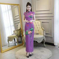 Traditional Daily Modern Cheongsam Chinese Dress Short Sleeve Wedding Qipao Chinoise Vestidos Size S 3XL