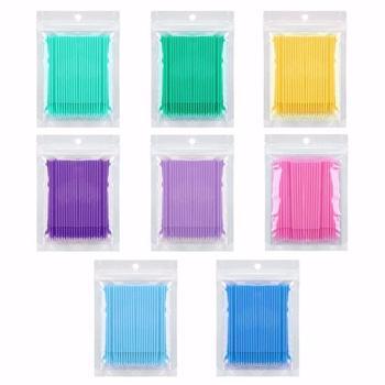 100 sztuk zestaw jednorazowe kolorowe waciki szczotki do rzęs wacik do czyszczenia rozszerzenie makijaż Stick aplikator do rzęs Microbrush tanie i dobre opinie CN (pochodzenie) Applicator brushes Plastic + nylon linter 100pcs full size
