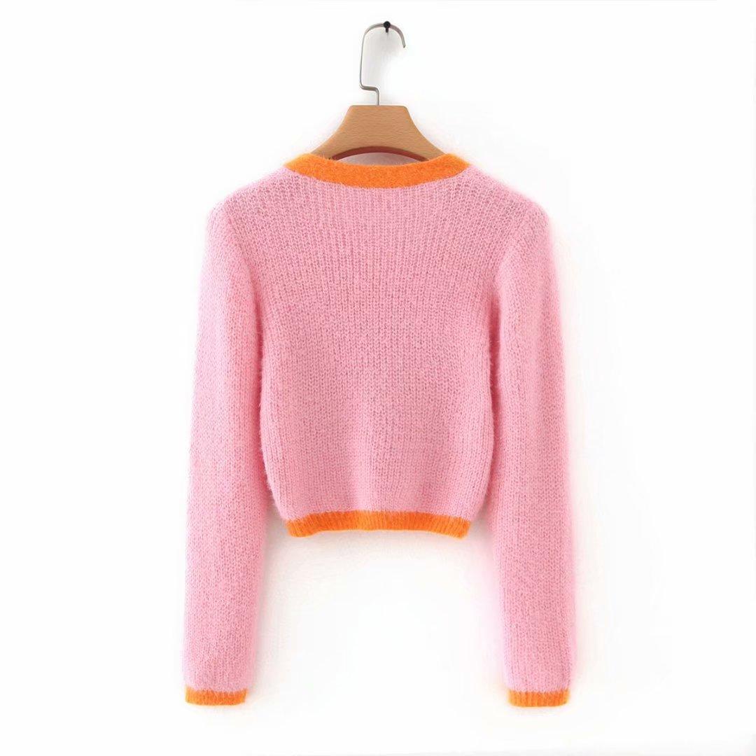 Pink cardigan womens sweaters korean crop sweater yellow autumn tops short sleeve v neck short cardigan mohair sweater fall 19 18