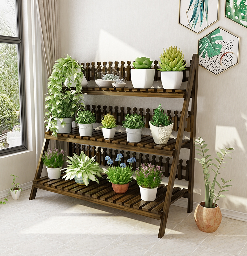 Flower Shelf Multi-storey Indoor Living Room Balcony Solid Wood Flower Pot Rack Floor-standing Folding Space Flower Stand