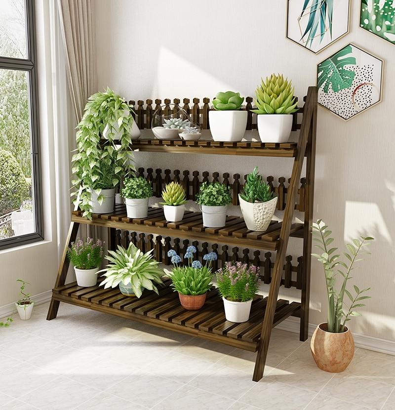 Flower Shelf Multi-storey Indoor Living Room Balcony Solid Wood Flower Pot Rack Floor-standing Folding Space Flower Stand