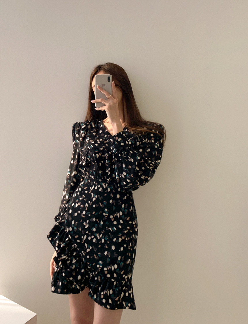 Ha100c6ead8934137884ad7ebf0482ce8i - Autumn V-neck Long Sleeves Floral Print Flounced Mini Dress